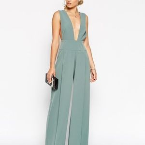 Sage Green Jumpsuit with Deep Plunge